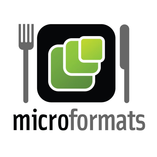 microformats logo sitting on a dinner placemat with a fork and knife on either side