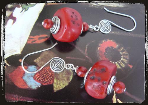 Orecchini corallo rosso  - Red coral earrings AMHGCHT