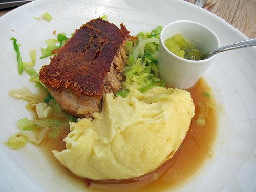 Roast Belly of Monkshill Farm Pork with Crackling and Apple Sauce