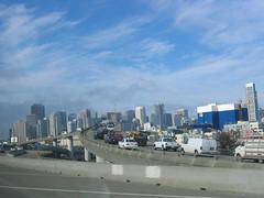 San Francisco skyline and traffic jam