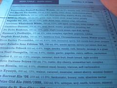 beer table menu
