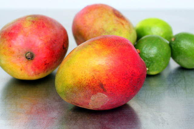 battered mangoes and lime