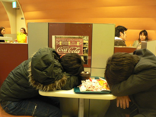 Japanese sleeping on the streets