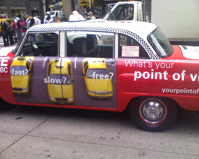 HSBC free taxi--pointlessly congesting, heating, and polluting our streets.