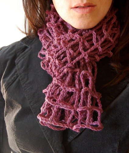 magenta crocheted mesh scarf for my etsy shop