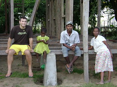Chris and a few members of his Malagasy family, plus the guy who is building his house without a single power tool!