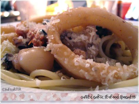 Chillied garlic seafood spaghetti!