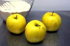 three sad apples