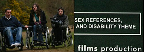 actors with wheelchairs, with disability theme warning box