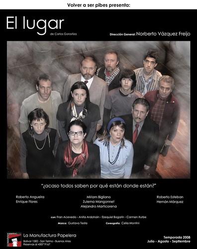 Afiche de obra El Lugar, con el elenco de actores