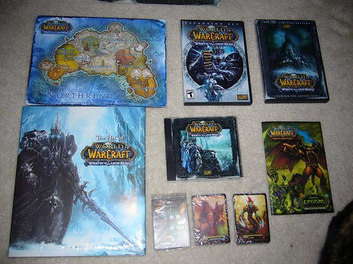 Northrend map mousepad, the expansion, behind the scenes DVD, hardcover art book, soundtrack, limited edition cards, 2 packs of cards for the card game, official rulebook.