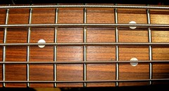 closeup of Fender J-Bass pao ferro neck