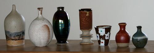 Seven small pots