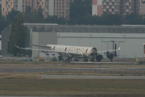 The remains of the Airbus A340-600 (msn 856) written off before delivery to Etihad