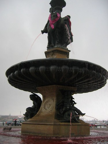 This fountain was dyed pink in honor of breast cancer awareness. I think it was done a little too red.