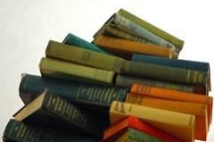 stack of books, Ballard, Seattle, Washington
