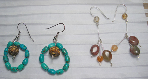 Turqoise and carved bead earrings that I gave Amanda (left) and for Zona, agate, jasper and sterling silver earrings.
