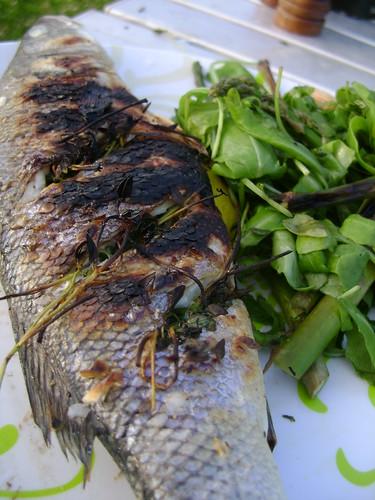 Sea Bass with Asparagus and Rocket Salad