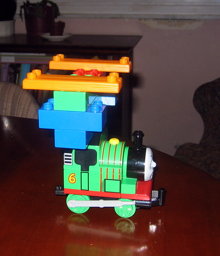 Percy outfitted with guns and blasters