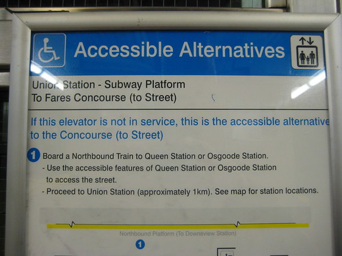 TTC - Union Station - Instructions for disabled people if the elevator doesn't work
