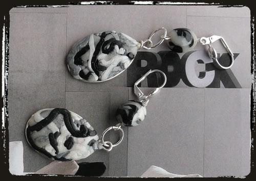 Orecchini bianco nero - Black and white earrings MEHMBNG
