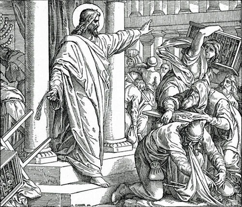 Jesus casting money-changers out of the temple