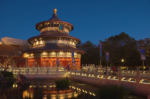 Temple of Heaven after sunset in the China pavilion in Epcot's World Showcase, Walt Disney World, Orlando, Florida.