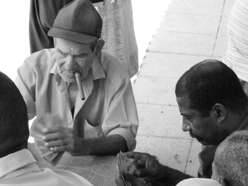 Playing cards on the pavement (Pinar del Rio, ...