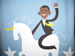 Barack Obama riding a unicorn on a pedestal