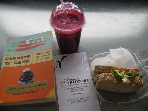 Carrots N' Cake book, juice from the Green Kitchen, egg salad sandwich