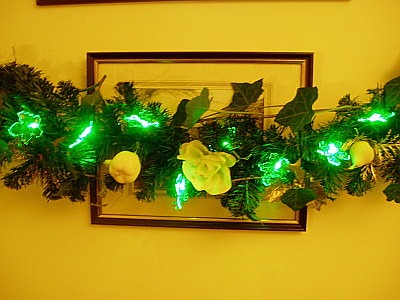 centre of the garland. the lights are LED lights, so dont get hot, so quite fire safe.
