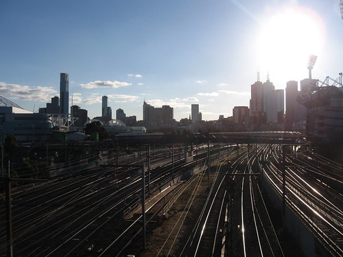 Melbourne skyline over Flinders St. train tracks