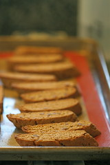 gingerbread biscotti cooling