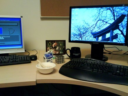 My desk. The bowl is compostable cardboard. The spoon is compostable plastic made from potato starch.
