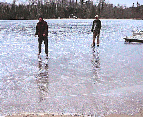 Quinn & Andy try out the new ice Tuesday afternoon.