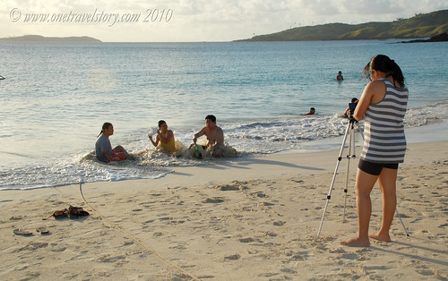 Taking photos of friends, Calaguas Island, Camarines Norte