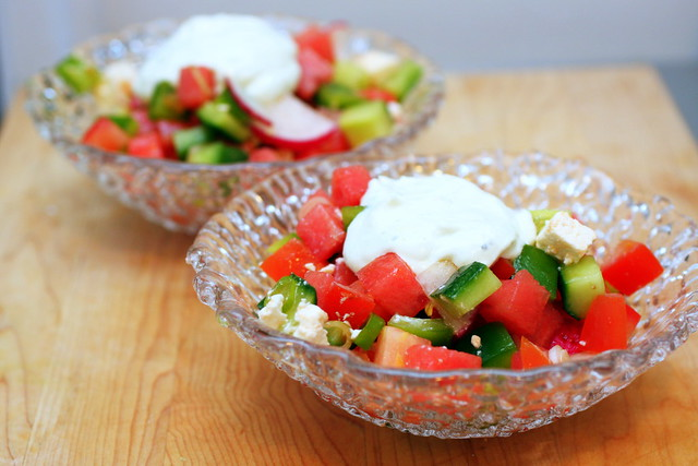 chopped salad with watermelon and feta