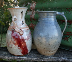 IE (?). Vase with relief medallions; and Shane Gardner. Salt-glazed jug.