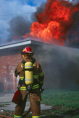 Firefighter waits for water