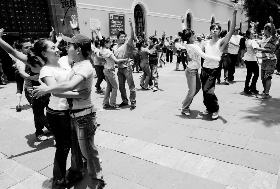 Students dancing in Puebla, Mexico