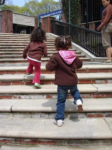 Walking up the steps like big girls