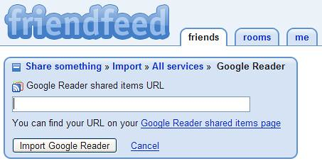 Friendfeed - Share Google Reader