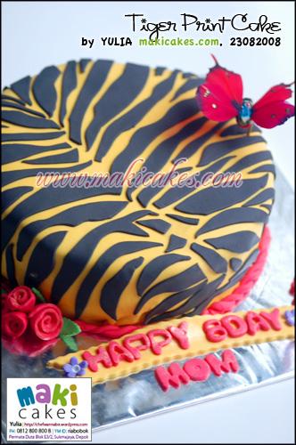 Tiger Print Bday Cake_ - Maki Cakes