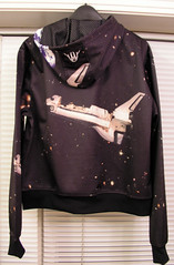 The Atlantis space shuttle on the back of my cool new hoodie.
