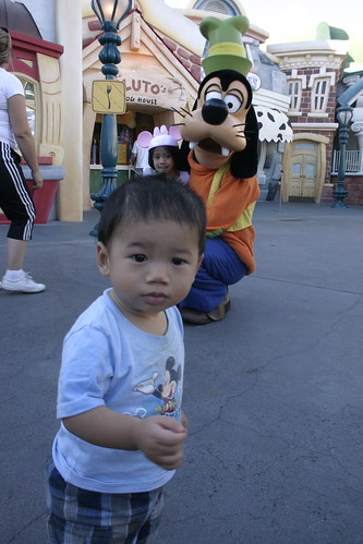 We saw Goofy in Toontown, but Emmett was a bit apprehensive of a giant dog wearing clothes.  They eventually shook hands, but thats as far as we got.  No picture.