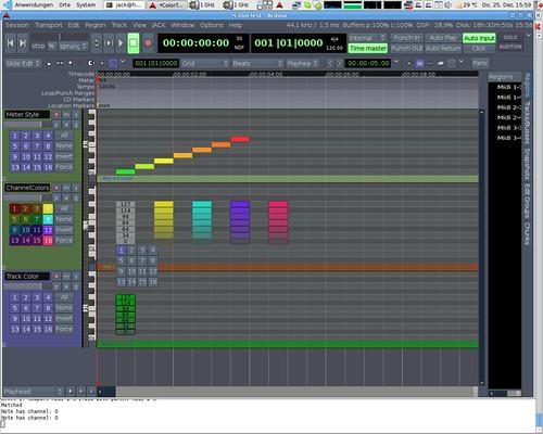 Three MIDI note coloring modes