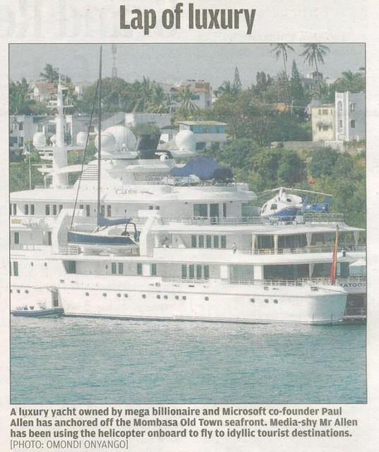 Paul Allen docks in Mombasa