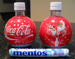 Christmas Coke Bombs + Mentos