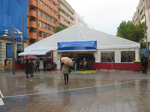 Pista de Patinaje ocupando espacio peatonal
