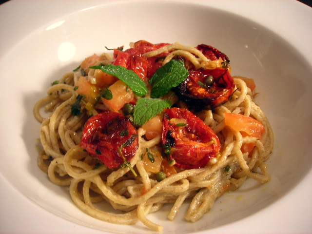 Whole wheat spaghetti with Jersey tomatoes, Campari tomato confit and mint